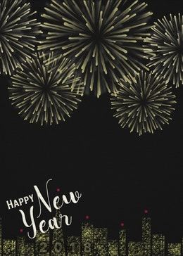 New Years Fireworks gift card design