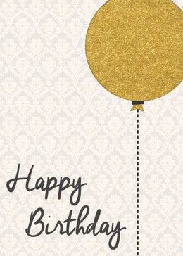 Birthday Balloon Gold gift card design