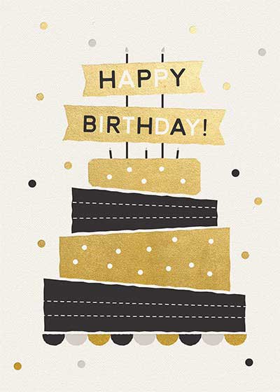 Birthday gold cake gift card design