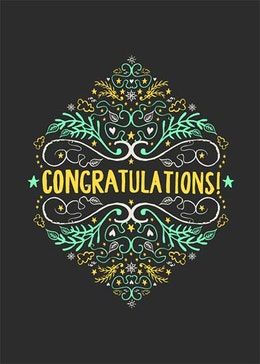 Congratulations yellow snowflake gift card design