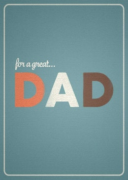 For a Great Dad gift card design