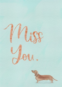 miss you dog gift card design
