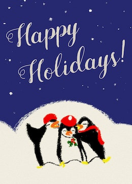 Holiday Penguins gift card design