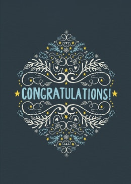 Blue Congrats gift card design