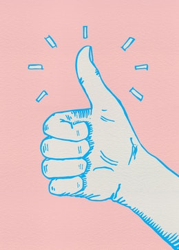 Pink thumbs up gift card design